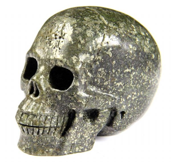 "Pyrite Marble Realistic Carved Gemstone Crystal Skull 2"" Inch SK28"